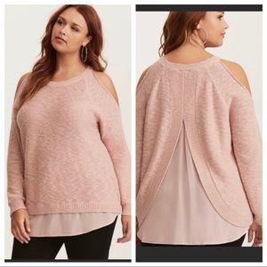 Torrid pink cold shoulder sweater with sheer back